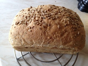White/Wholemeal 50:50 loaf with added seeds. Delicious - might need a lil more water.