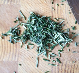 Mince most of the Rosemary finely, allowing a few whole & half leaves to remain so they can be seen in the bread!