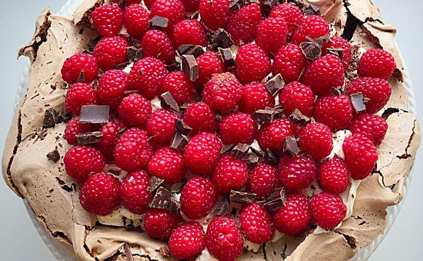 Raspberry Chocolate Pavlova