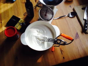 Oh yes - I whisked 6 egg whites using a rotary whisk!!! Gone are the bingo wings!!!!
