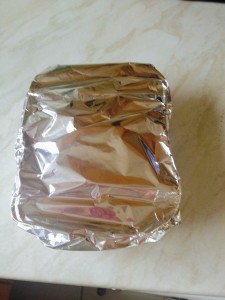 Slightly overstuffed, once the cheese sauce was added, so just wrapped in foil. One individual portion ready to go!!!