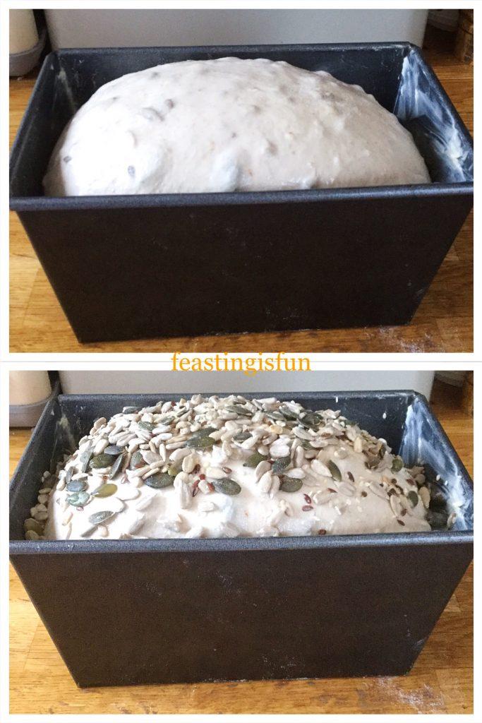 Risen dough in the tin ready for baking.