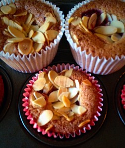Crunchy flaked almonds hide the moist, raspberry and almond muffin!