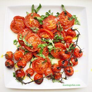 Fresh Basil Topped Slow Roasted Tomatoes