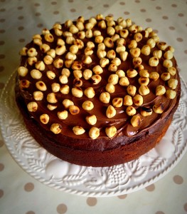 Nutella and Hazelnut covered, light and moist, Chocolate Marble Cake.