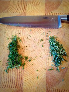 Finely chopped Thyme (left) and Rosemary (right).