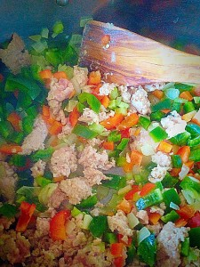 Mix all the veggies and garlic with the Chicken mince. Inhale the gorgeous aroma!