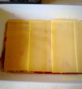 If your lasagne sheets don't fit exactly, just snap bits off to adjust them.