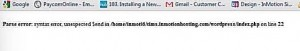 A similar error message to this came up on my WordPress site - The White Screen of Death.