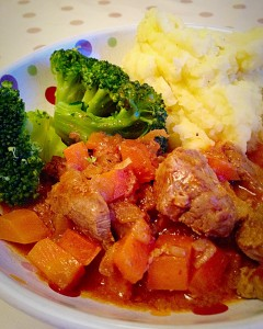 Delicious dinner! Best Beef Casserole, served with Creamy Mash and Broccoli.