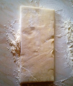 One half of the pastry block. Placed on a floured surface.