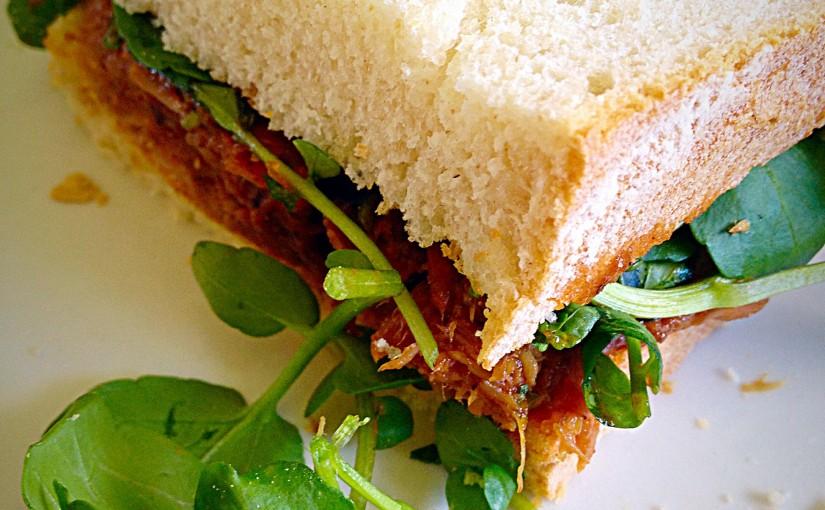Jerk Pulled Pork Watercress Sandwich
