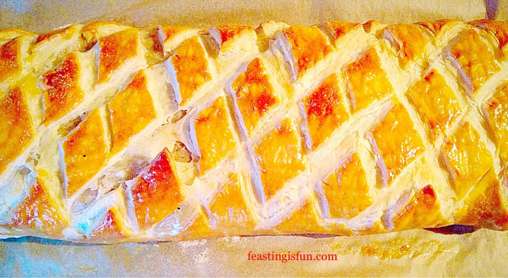 Diamond effect puff pastry sausage plait.