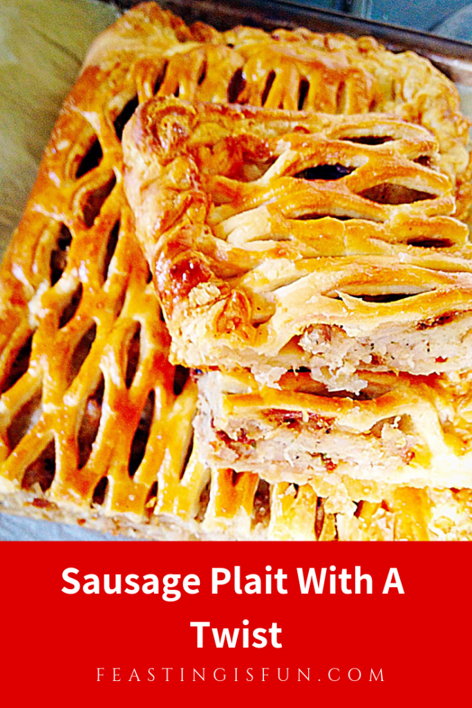 Pinterest sized image of sliced sausage plait with descriptive graphics.
