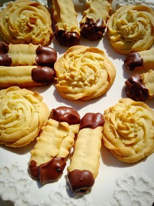 Chocolate Dipped Viennese Fingers accompanied by Viennese Whirls!