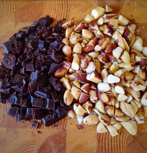 Chop the nuts and chocolate into large chunks.