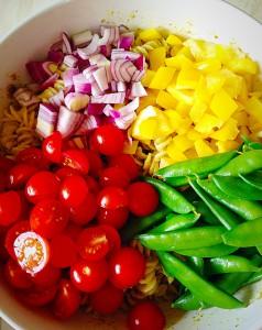 Chicken Pasta Pesto Salad - crammed full of crunchy veg!
