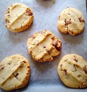Delicious golden Hazelnut Chocolate Chunk Cookies Gluten Free.