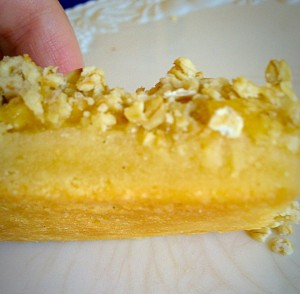 Oat Topped Lemon Shortbread Bars - pre-cooking the shortbread layer ensures it is cooked through with a lovely golden bottom.