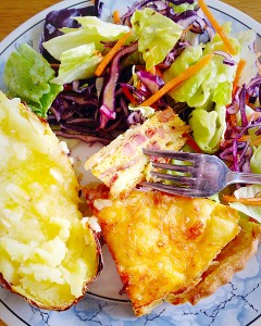 Quiche Lorraine - scrummy with salad and a jacket potato.
