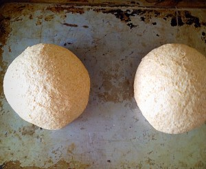 Rotate the dough on the baking sheet to form a tight ball.
