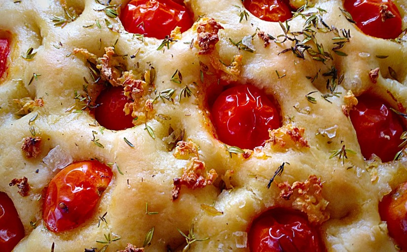 Tomato Thyme Garlic Focaccia Bread