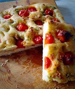 Delicious Tomato Thyme Garlic Focaccia Bread.