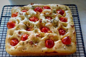 Remove the Tomato Thyme Garlic Focaccia Bread from the pan and cool on a rack, if not eating straight away!!