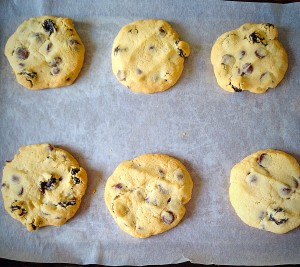 Sour Cherry Chocolate Chip Cookies - remove from the oven and leave to cool on the baking tray.