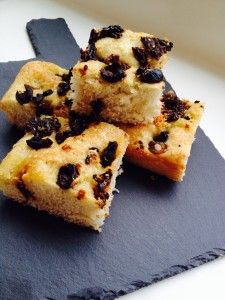 This Slate board was inexpensive and shows this Sundried Tomato Olive Focaccia beautifully.