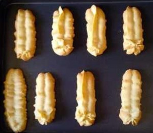 A quick shot of the cooked Viennese Fingers, reassures the reader of how they look once baked.