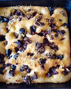 Gorgeously golden, baked -Sundried Tomato Olive Focaccia Bread.