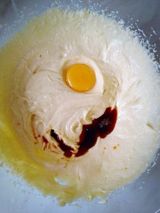 Add the egg yolk and vanilla extract. Whisk until thoroughly incorporated.
