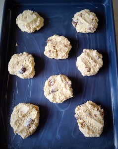Walnut Fig Oat Cookies - using clean, wet fingers, press down on each dough ball to flatten the cookie.