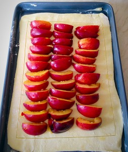 Blackberry Nectarine Tart - arrange the nectarine slices in rows.