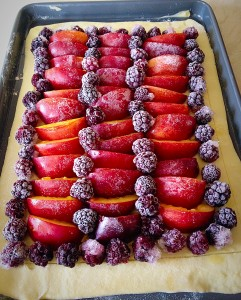 Blackberry Nectarine Tart - using frozen blackberries I think helped them retain their shape during baking.