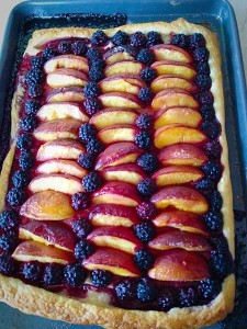 Blackberry Nectarine Tart - once baked remove from the oven.