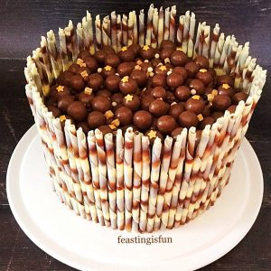 Chocolate celebration cake covered with chocolate fudge ganache, topped with Maltesers and surrounded with chocolate marble pencils.