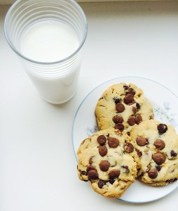 Cheer Up Chocolate Chip Cookies - perfect with a glass of milk.