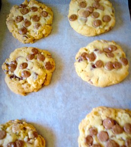 Allow the Cheer Up Chocolate Chip Cookies to cool and firm up on the baking sheet for 10 mins.