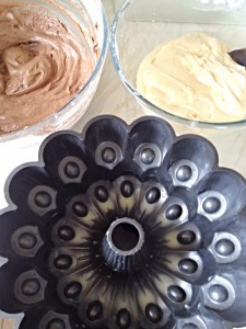 You are now ready to start building your Marbled Chocolate Bundt Cake.