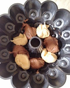 Place scoops (I used a dessert spoon) of alternating vanilla/chocolate batter in the Bundt tin.