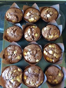Chocolate Madness Muffins remove from the oven and allow to cool in the pan.
