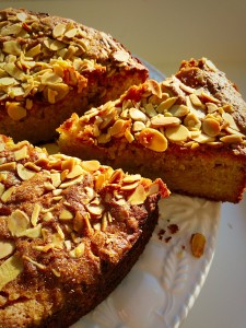 Autumn Apple Almond Cake crunchy topping that hides the moistest cake ever. www.feastingisfun.com