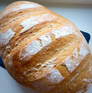 Large White Bloomer homemade bread is the BEST! www.feastingisfun.com
