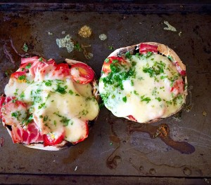 Cheese Ham Stuffed Mushrooms delicious straight from the oven.