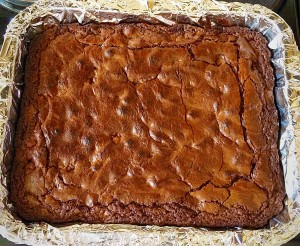 Chocolate Macadamia Nut Brownies leave to cool in the tin.