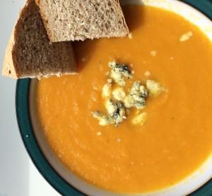 Carrot Soup garnish with Stilton cheese www.feastingisfun.com