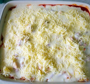 Cheesy Vegetable Pasta Bake, smother in cheese sauce and finish with a sprinkling of finely grated cheese.