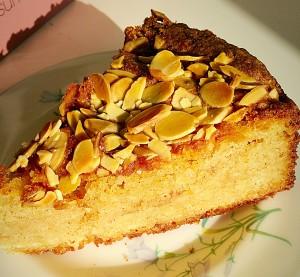 Autumn Apple Almond Cake beautifully moist, with a soft, tender crumb. www.feastingisfun.com